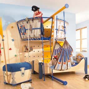 Pirate Themed Bunk Beds http://accordingtodina.wordpress.com/2011/08/01/design-kids-room-boyz/